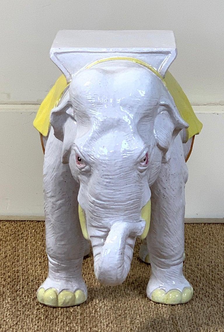 Italian Glazed Ceramic Elephant Garden Seat For Sale 4