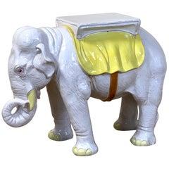 Italian Glazed Ceramic Elephant Garden Seat