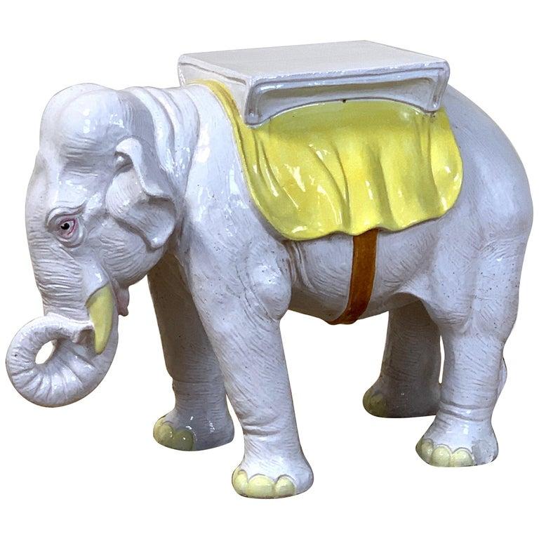 Italian Glazed Ceramic Elephant Garden Seat For Sale