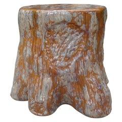 "Italian Glazed Ceramic ""Faux Bois"" Table or Garden Seat"