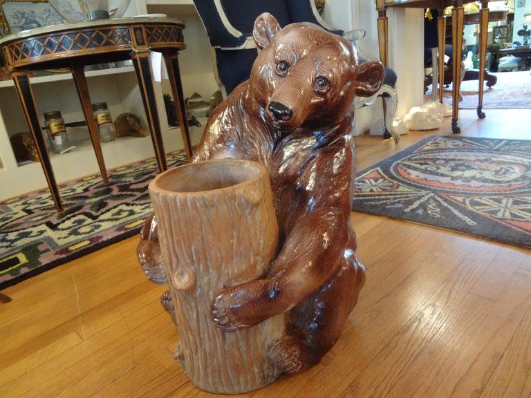Italian Glazed Pottery Brown Bear Umbrella Stand For Sale 5