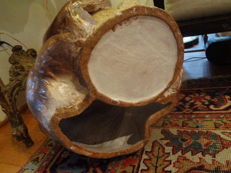 Italian Glazed Pottery Brown Bear Umbrella Stand For Sale 6