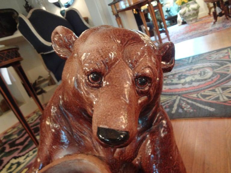 Hollywood Regency Italian Glazed Pottery Brown Bear Umbrella Stand For Sale