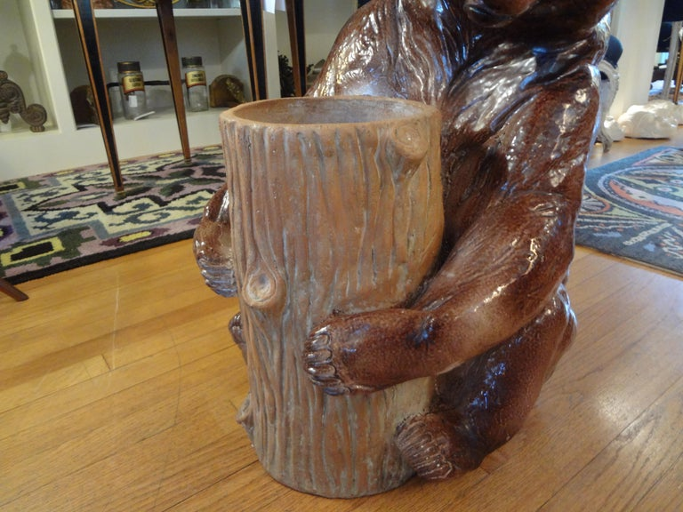 Italian Glazed Pottery Brown Bear Umbrella Stand In Good Condition For Sale In Houston, TX
