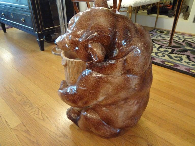 Italian Glazed Pottery Brown Bear Umbrella Stand For Sale 1