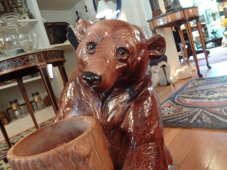 Italian Glazed Pottery Brown Bear Umbrella Stand For Sale 4