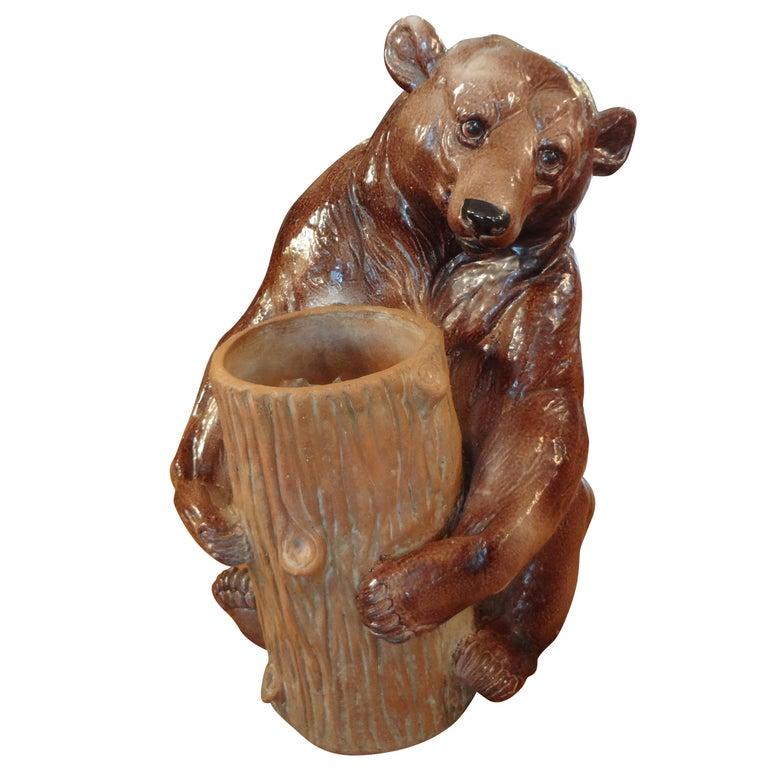 Italian Glazed Pottery Brown Bear Umbrella Stand For Sale