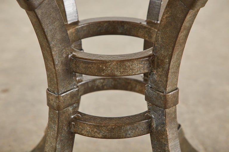 Italian Glazed Pottery Top Iron Pedestal Dining Table For Sale 7
