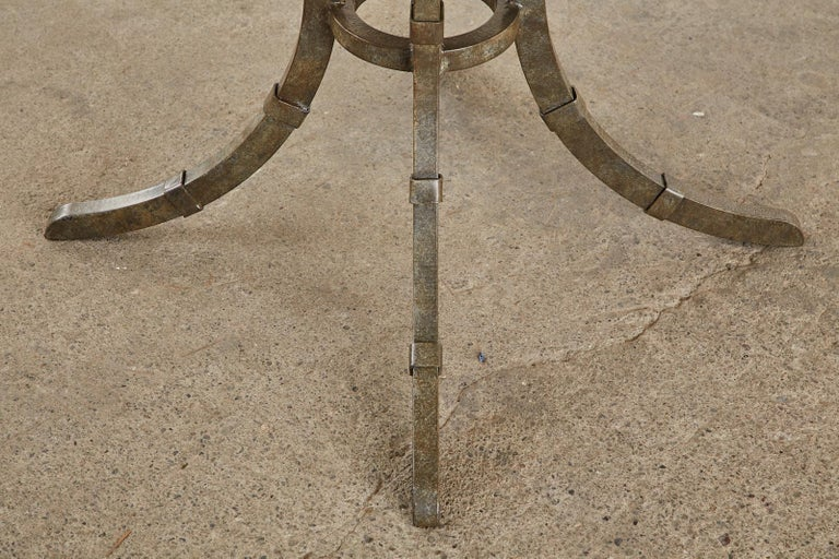 Italian Glazed Pottery Top Iron Pedestal Dining Table For Sale 11