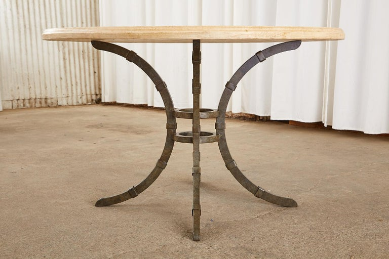 Italian Glazed Pottery Top Iron Pedestal Dining Table In Good Condition For Sale In Rio Vista, CA