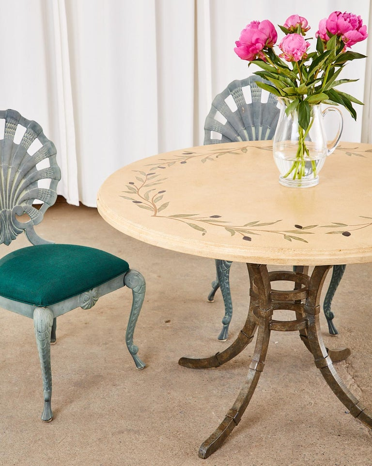 Italian Glazed Pottery Top Iron Pedestal Dining Table For Sale 1