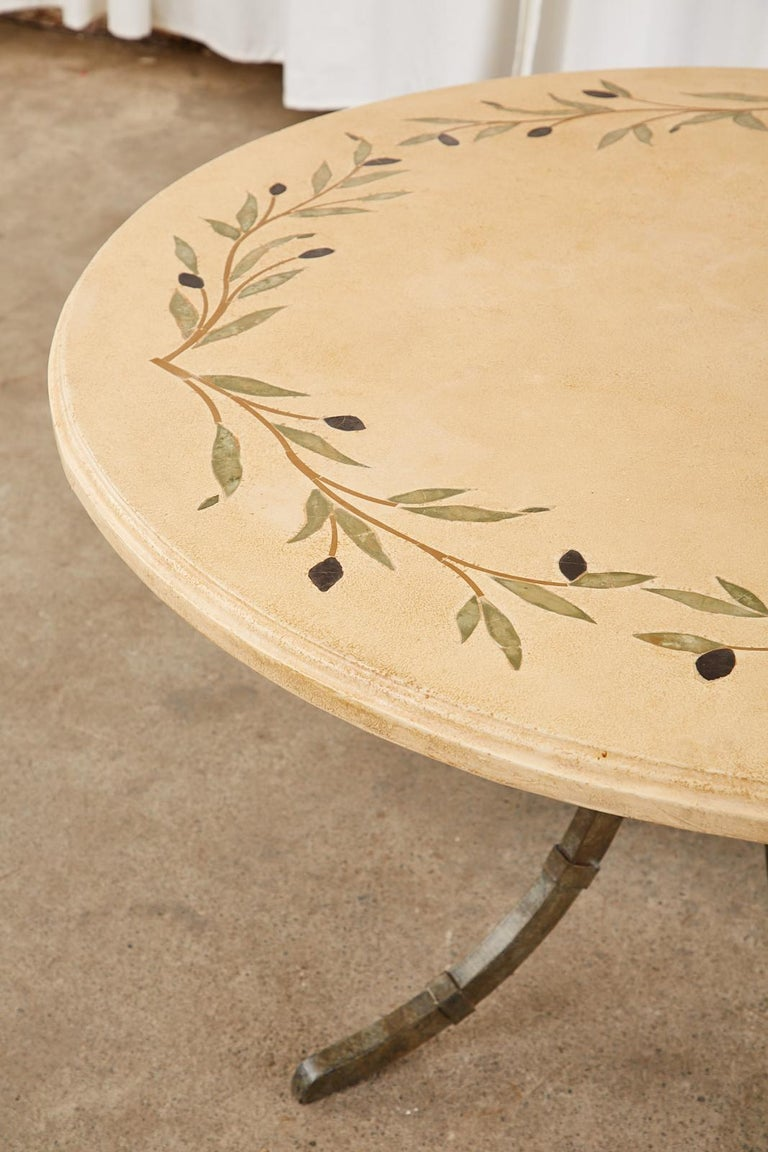 Italian Glazed Pottery Top Iron Pedestal Dining Table For Sale 2