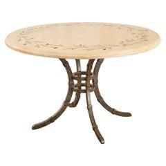 Italian Glazed Pottery Top Iron Pedestal Dining Table
