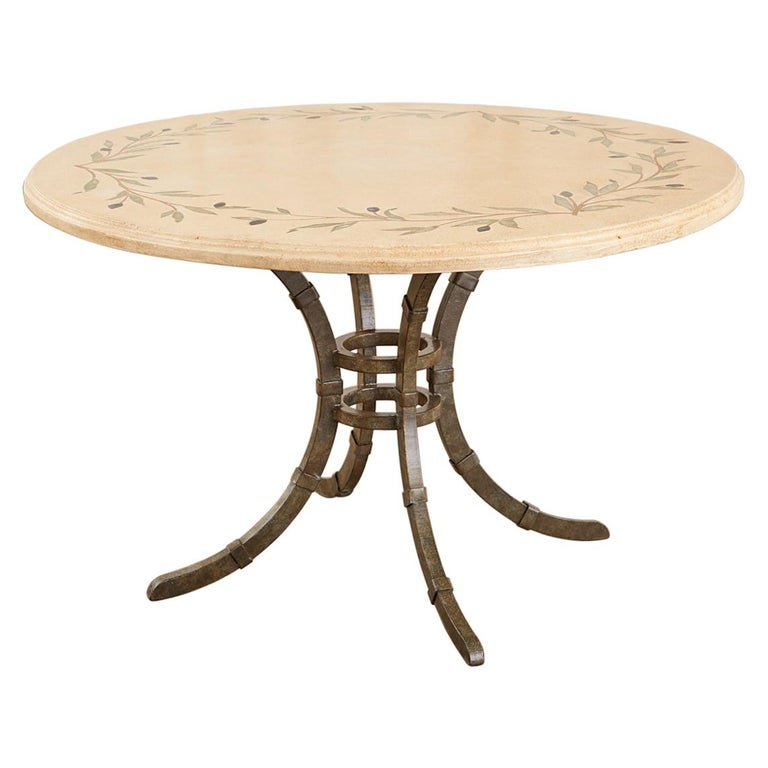 Italian Glazed Pottery Top Iron Pedestal Dining Table For Sale