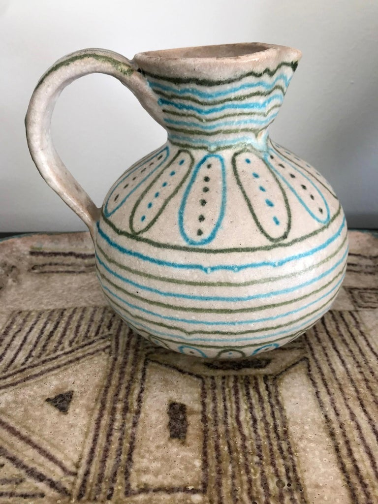 20th Century Italian Glazed Stoneware Pitcher by Guido Gambone For Sale
