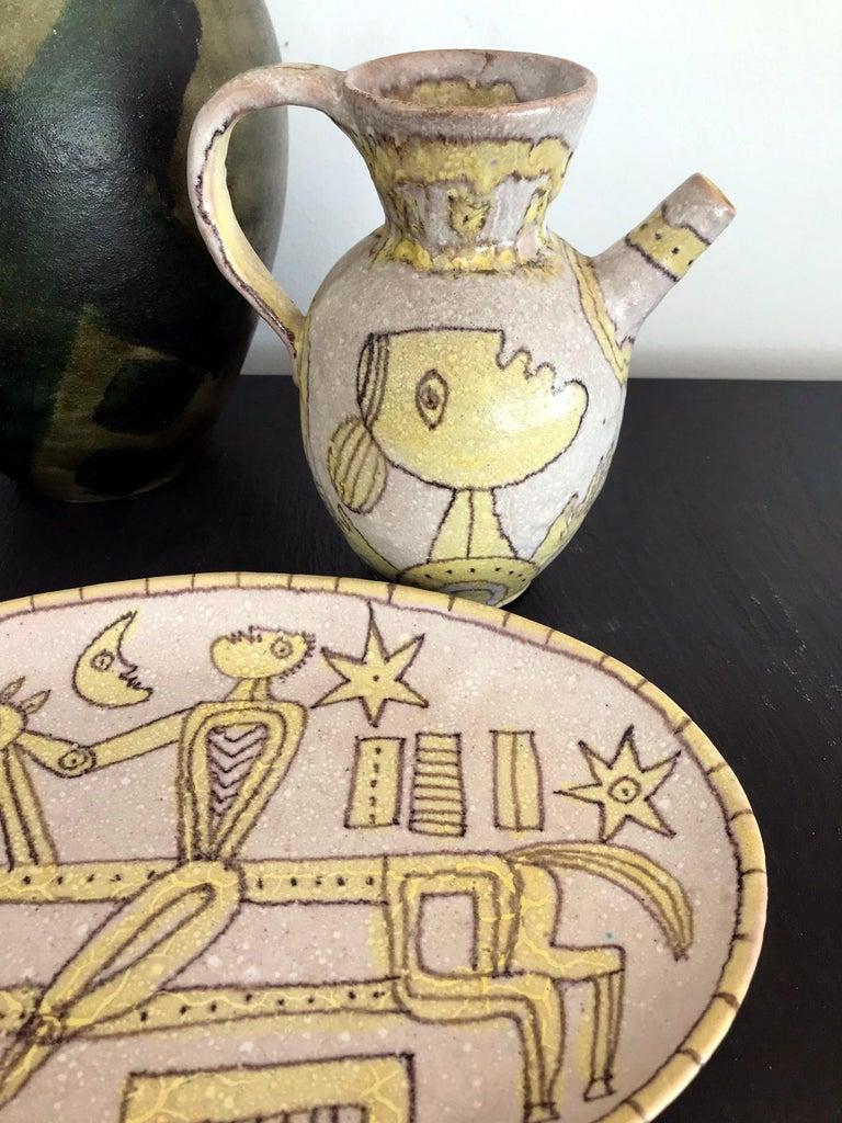 Italian Glazed Stoneware Pitcher by Guido Gambone For Sale 1