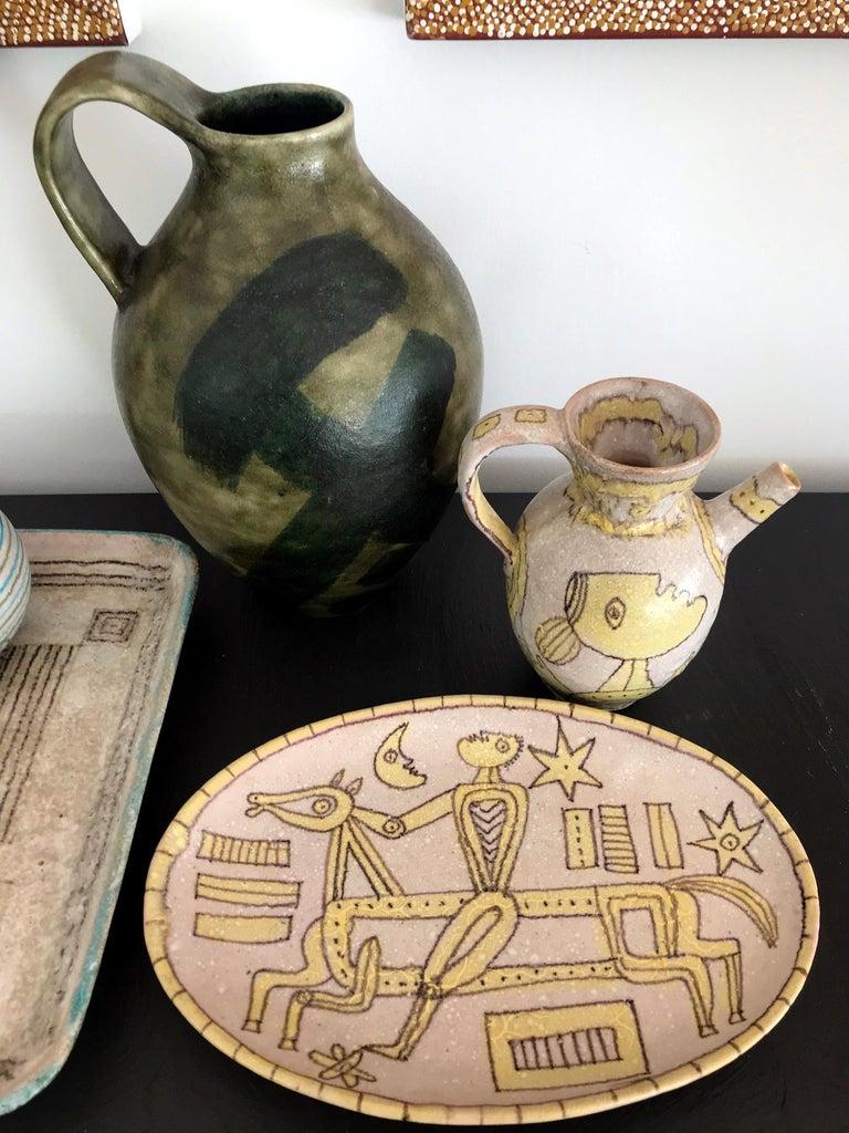 Italian Glazed Stoneware Pitcher by Guido Gambone For Sale 2
