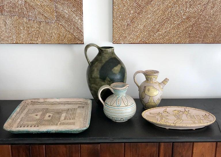 Italian Glazed Stoneware Pitcher by Guido Gambone For Sale 3