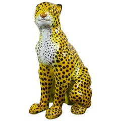 Italian Glazed Terracotta Figure of a Seated Leopard