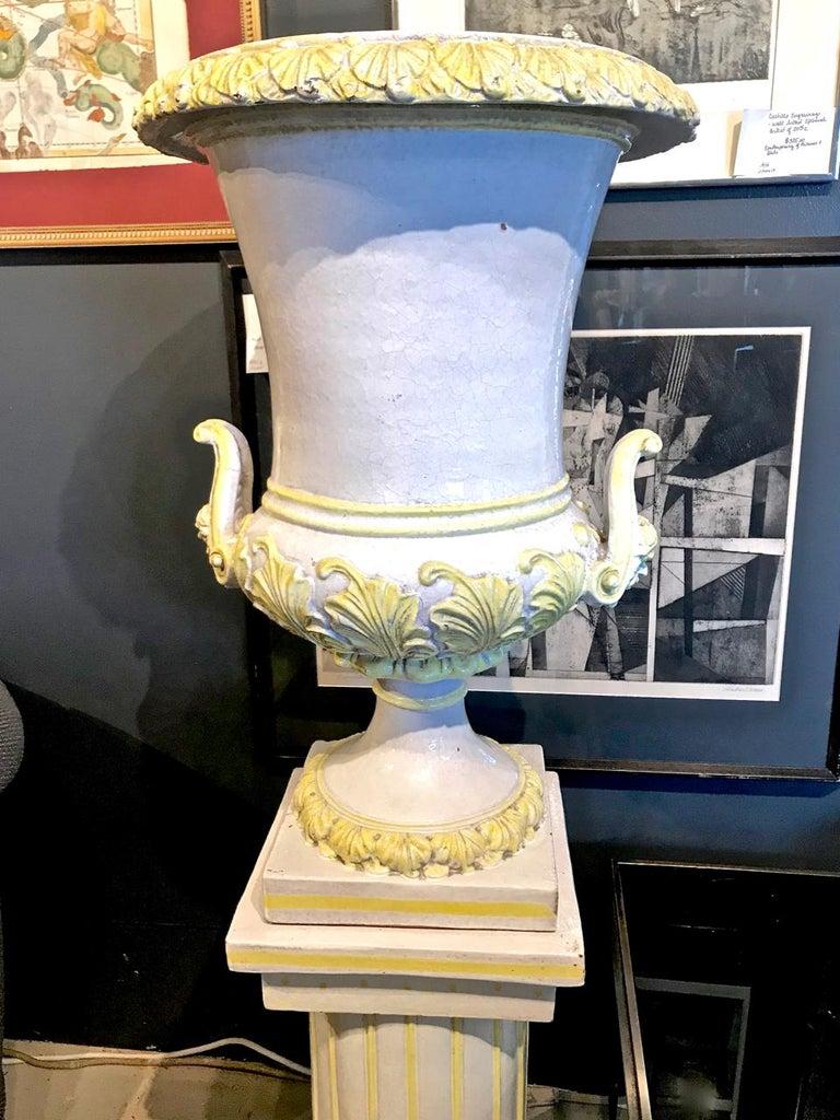Renaissance Revival Italian Glazed Terra Cotta Urn on Pedestal For Sale