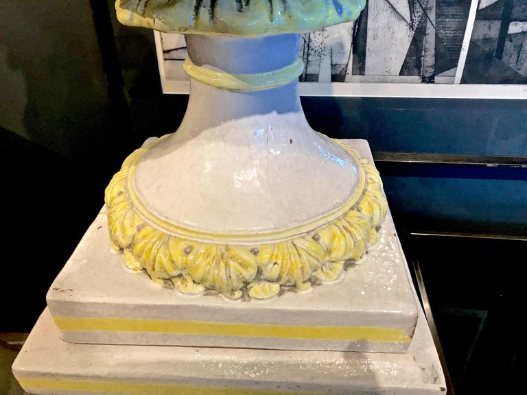 20th Century Italian Glazed Terra Cotta Urn on Pedestal For Sale