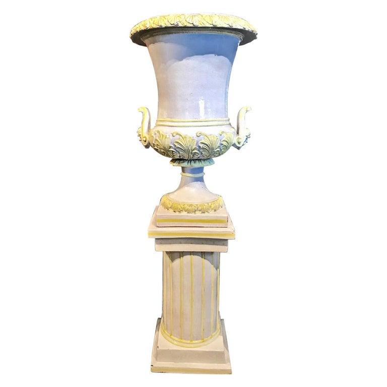 Italian Glazed Terra Cotta Urn on Pedestal For Sale