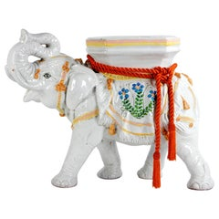 Italian Glazed Terracotta Elephant Sculpture, Garden Stool or Stand