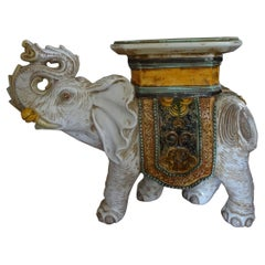 Italian Glazed Terracotta Elephant Table or Garden Seat