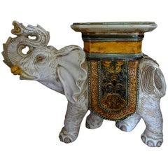 Italian Glazed Terracotta Elephant Table or Garden Seat