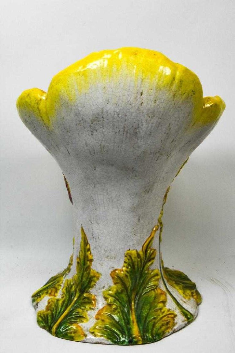 Italian Glazed Terracotta Flower Garden Chairs For Sale 3