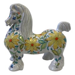 Italian Glazed Terracotta Horse Sculpture Mancioli Pottery for Raymor