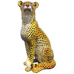 Italian Glazed Terracotta Leopard Figure