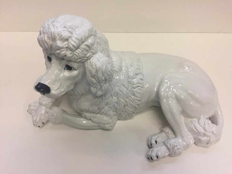 Italian Glazed White Terracotta Poodle Sculpture In Excellent Condition For Sale In Hopewell, NJ