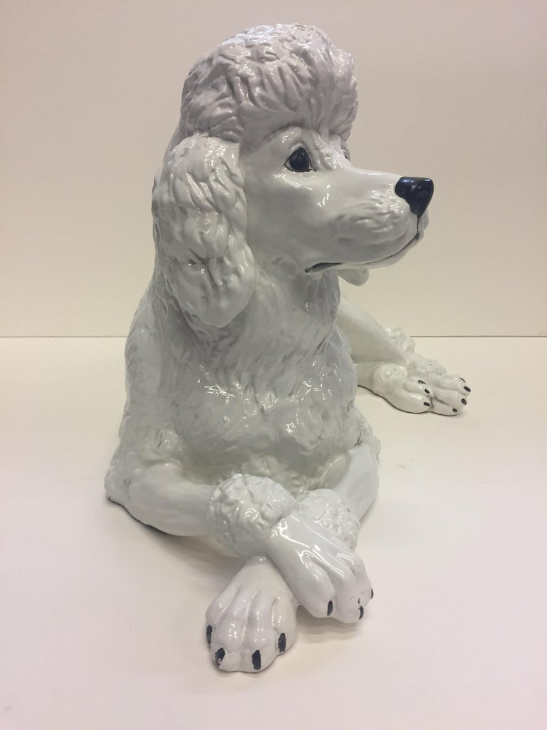 Late 20th Century Italian Glazed White Terracotta Poodle Sculpture For Sale