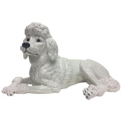 Italian Glazed White Terracotta Poodle Sculpture