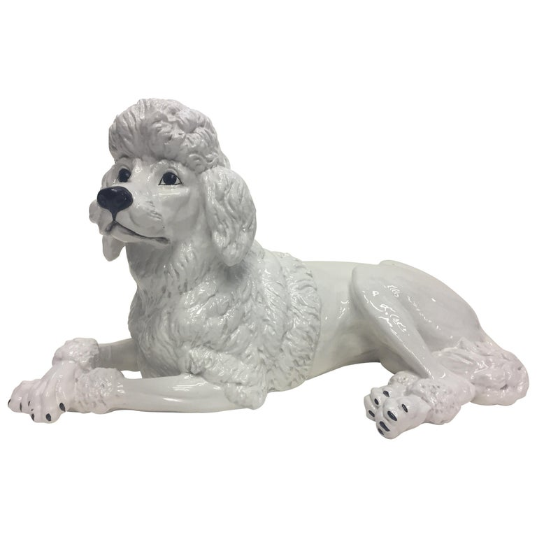 Italian Glazed White Terracotta Poodle Sculpture For Sale