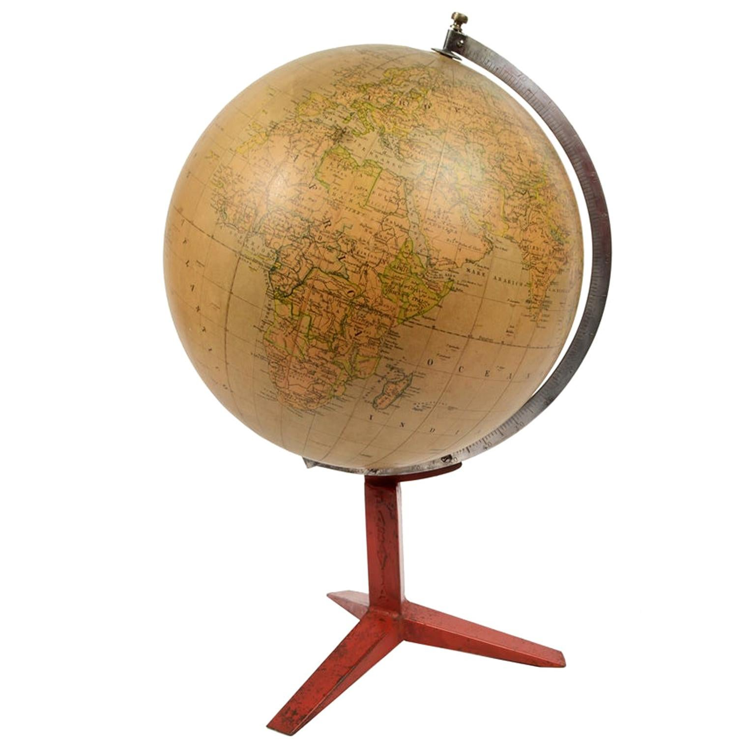 1940s-1950s Vintage Italian Terrestrial Globe with Metal Base By Paravia Turin