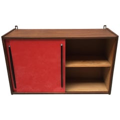Italian Glossy Red Formica and Black Wood Kitchen Wall Unit, 1960s