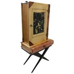 Italian Goatskin Book Shaped Dry Bar Cabinet by Aldo Tura