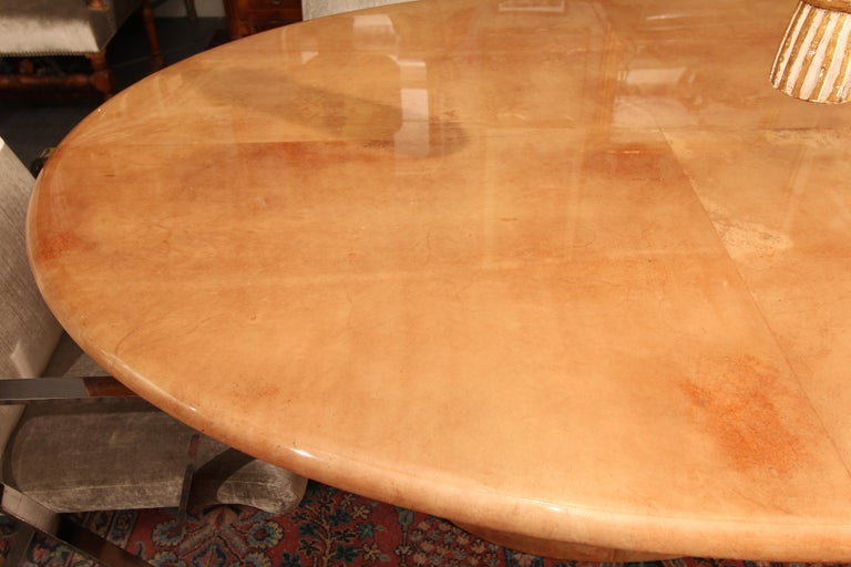 European Italian Goatskin Oval Dining Table / Desk For Sale