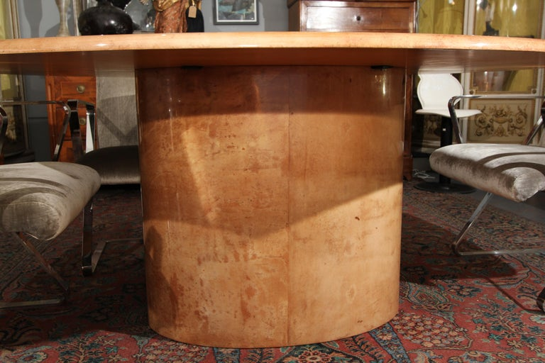 Lacquered Italian Goatskin Oval Dining Table / Desk For Sale