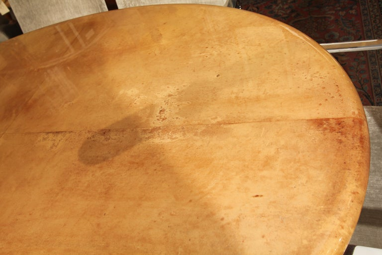 20th Century Italian Goatskin Oval Dining Table / Desk For Sale