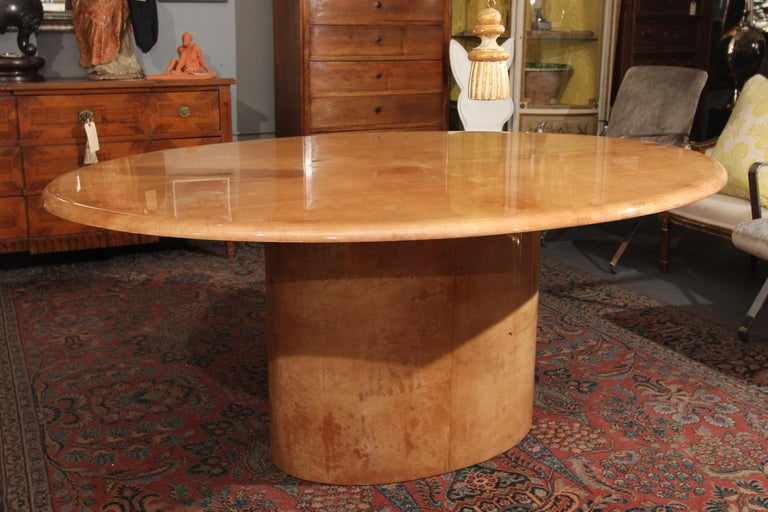 Italian Goatskin Oval Dining Table / Desk For Sale 3