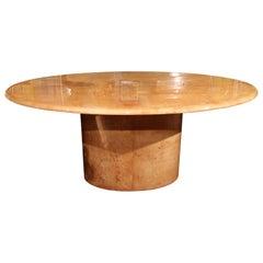 Italian Goatskin Oval Dining Table / Desk
