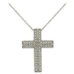 Italian Gold 2.24 Carat Diamond Cross Pendant Necklace