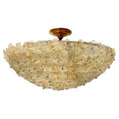 Italian Gold and Clear Millefiori Glass Light Fixture