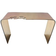 Italian Gold and Fuchsia Glass Console Table with Swarovski Strass Crystals