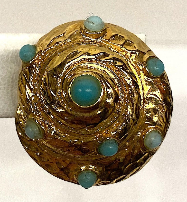 Italian Gold and Turquoise Spiral Sea Shell Earrings For Sale 3