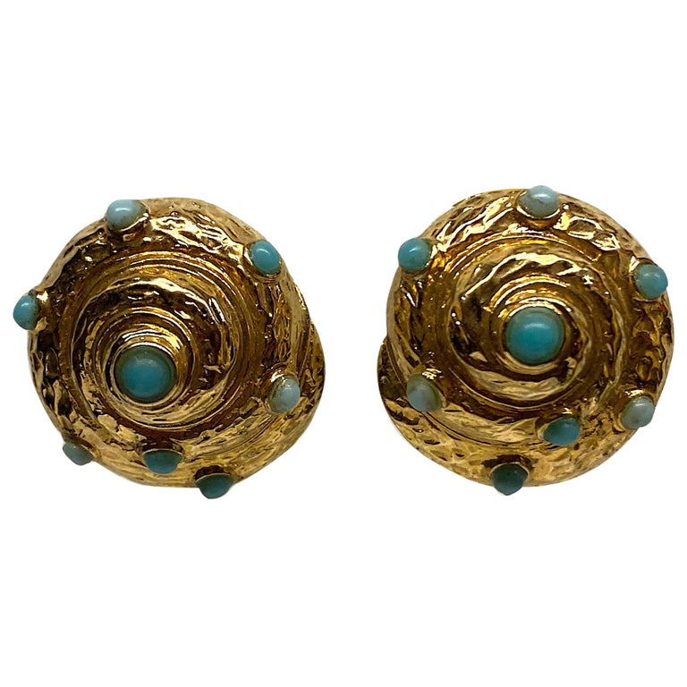Italian Gold and Turquoise Spiral Sea Shell Earrings For Sale