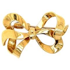 Italian Gold Bow Pin-Brooch